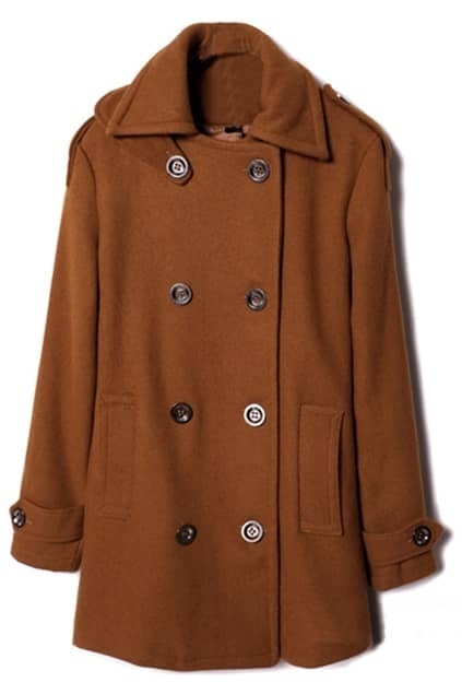 Double-breasted Lapel Brown Coat