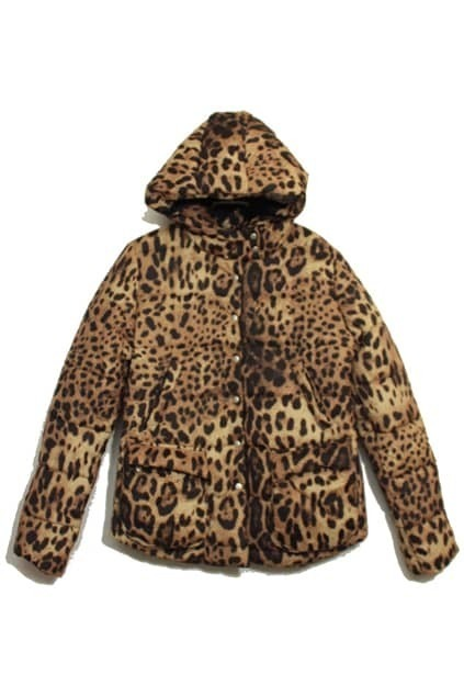 Buttoned Hooded  Leopard Coat