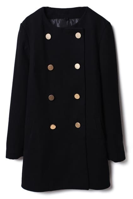 Doubel-breasted Black Woolen Coat