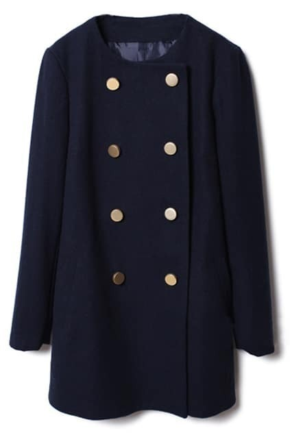 Doubel-breasted Dark-blue Woolen Coat