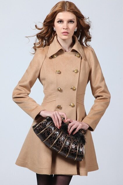 Army Style Camel Woolen Coat