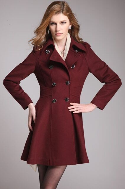 Army Style Dark Red Woolen Coat