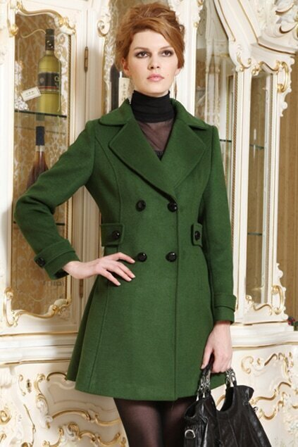 Double Breasted Green Lapel Coat