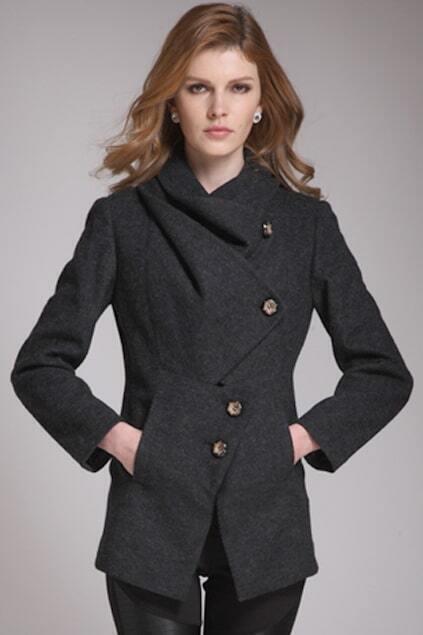 Assymetric Buttons Black Woolen Coat