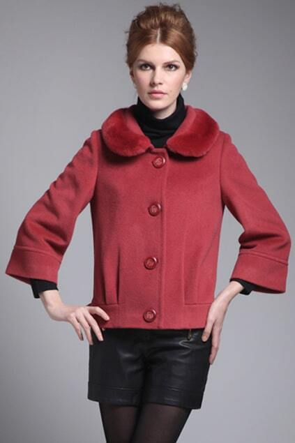 Cony Hair Lapel Pink Woolen Coat