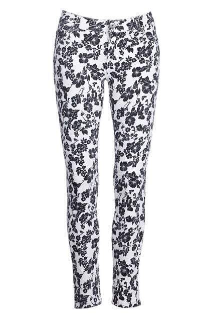 Black Floral Print White Pants