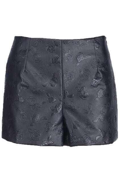 Rose Embossment Black Shorts