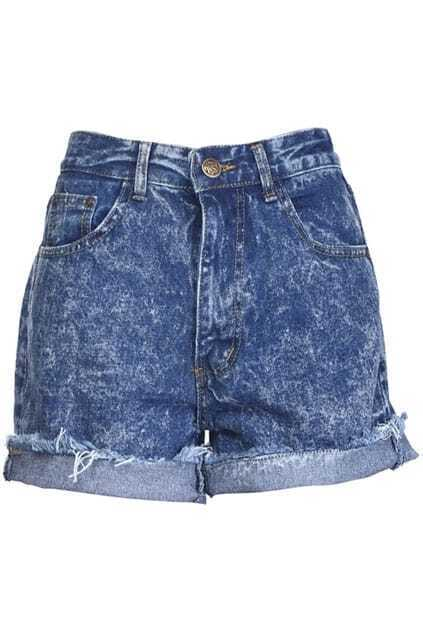 Frayed Hem Blue Shorts