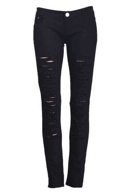 Threadbare Distressed Black Pants