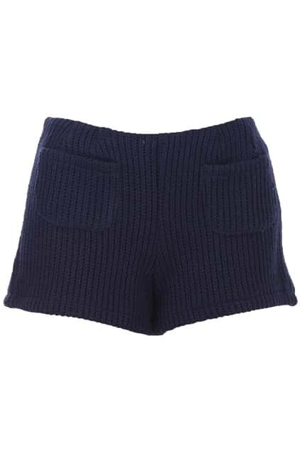 Slim Cable Knit Dark Blue Shorts