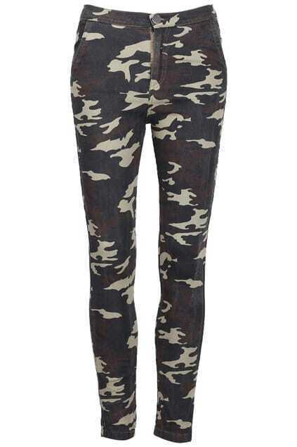 Zippered Camouflage Army-green Pants