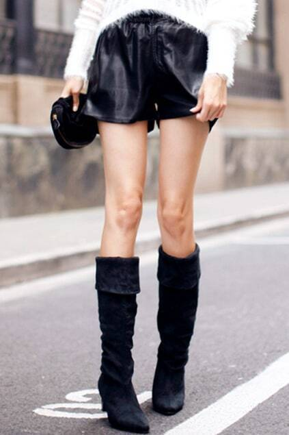 Bud High Waist Black Leather Shorts