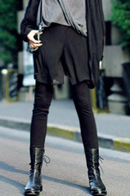 Thin Perspective Black Chiffon Shorts