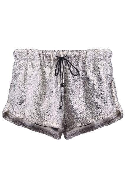 Bud Decorative Lacing Waist Golden Shorts