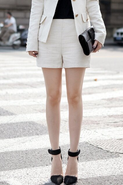 Golden Chain Embellished High-waist White Shorts