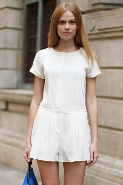 Lacing Solid Color White Short Jumpsuits