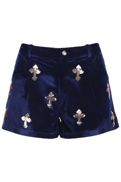 Royal Blue Cross Velvet Shorts