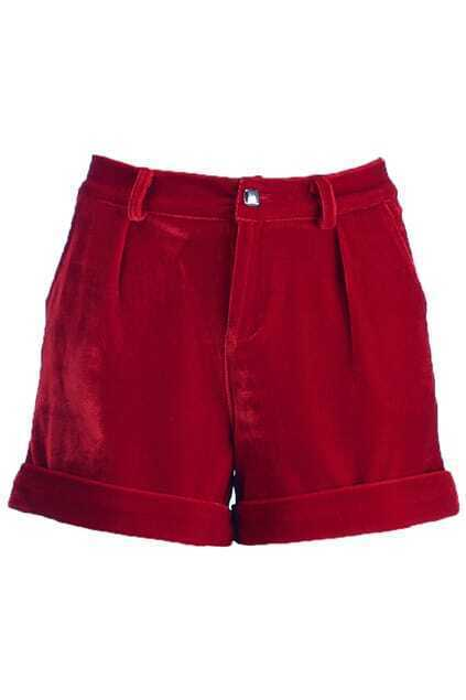 Red Basic Velvet Shorts
