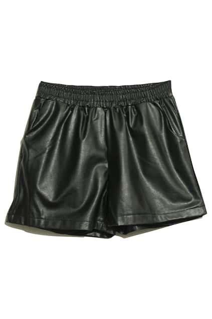 Black Main Leather Shorts