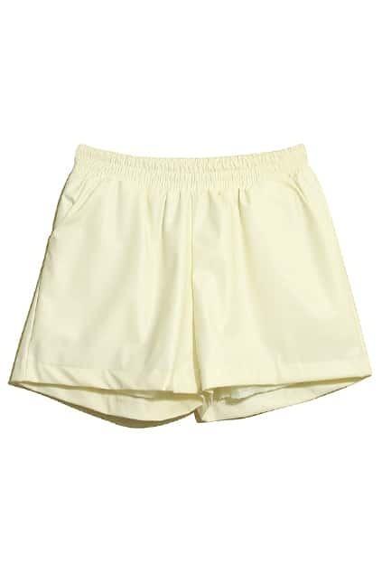 Light Cream Main Leather Shorts