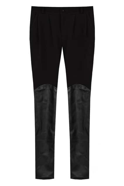 Faux Sheepskin Splicing Black Harem Pants
