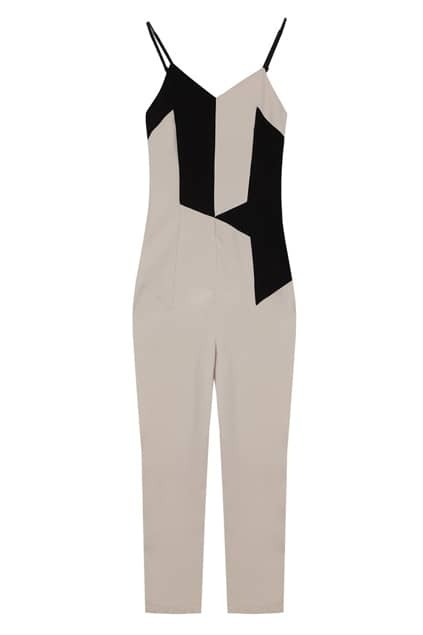Contrast Geometric Pattern Aprict-black Strap Jumpsuit