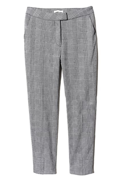 Classic Fine Grey Plaid Print Pants
