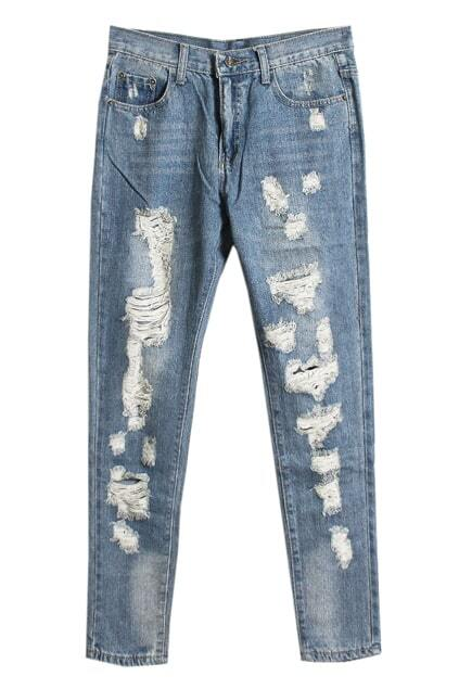 Rinse Distressed Blue Jeans