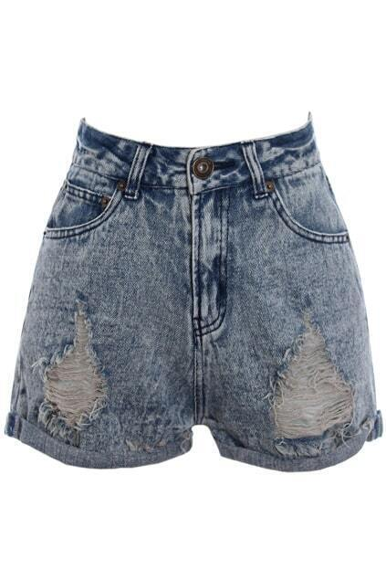Retro Distressed Rolled Edge Snowflake Shorts