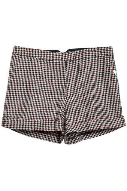 Retro Houndstooth Rolled Edges Black-white Shorts