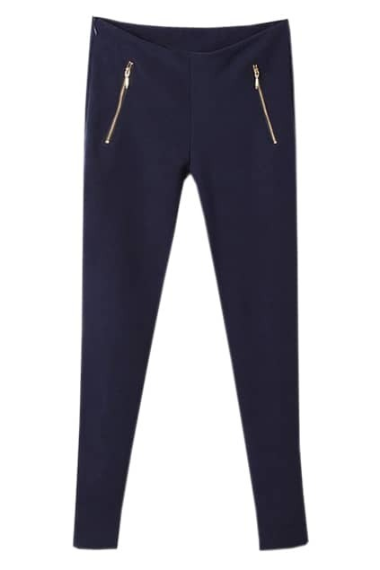 High Waist Multi-zippered Dark-blue Pants