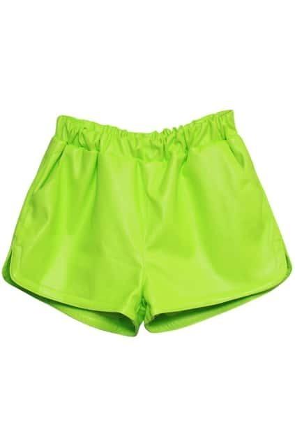 High Waist Fluorescence Green PU Shorts
