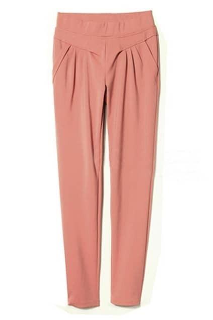 Leisured Pleated Pink Harem Pants