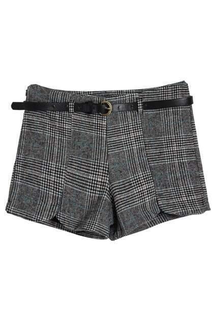 High Waist Belted Blue Plaid Shorts