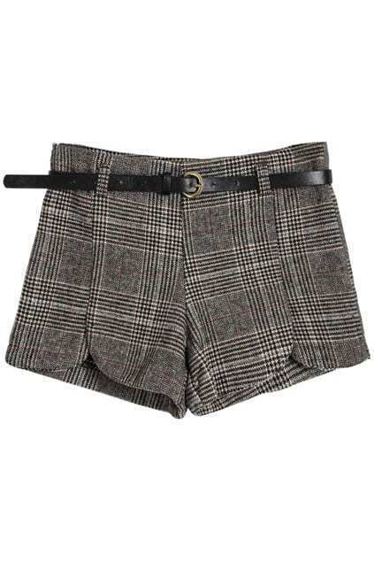 High Waist Belted Brown Plaid Shorts