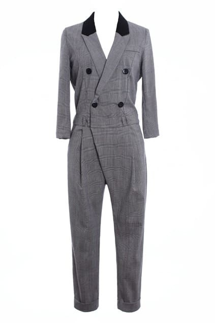 Double Breasted Plaid  Jumpsuit