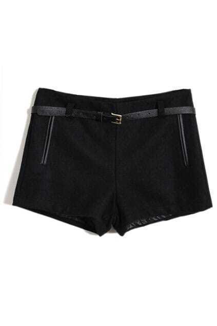 Faux Woolen Black Shorts