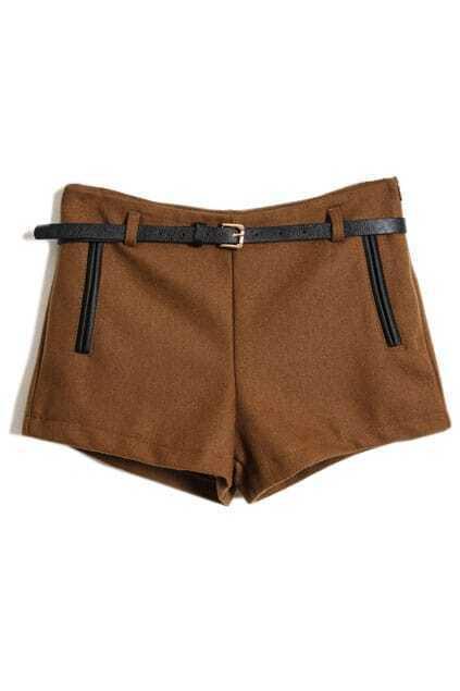 Faux Woolen Brown Shorts