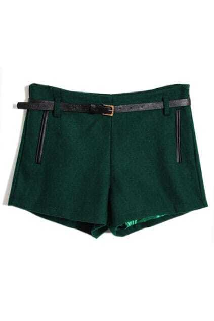 Faux Woolen Dark Green Shorts