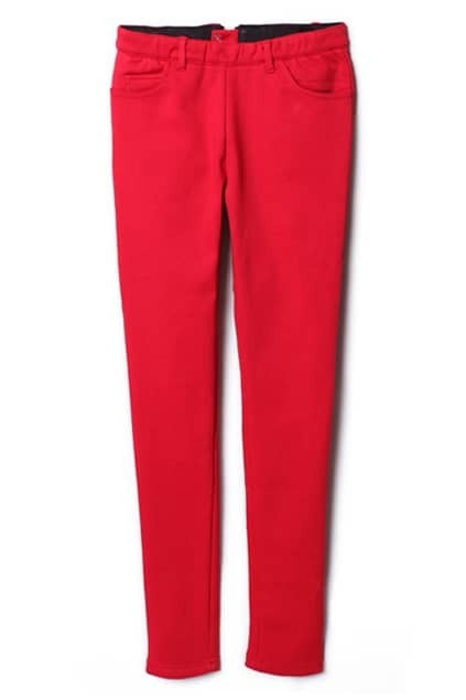 Elastic Zipped Red Leggings