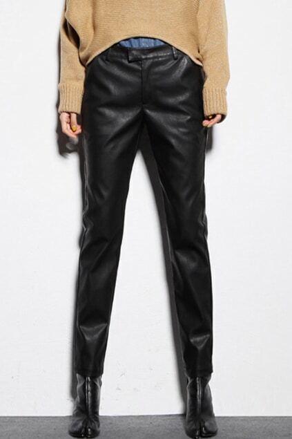 Beltband Black Vinyl Pants