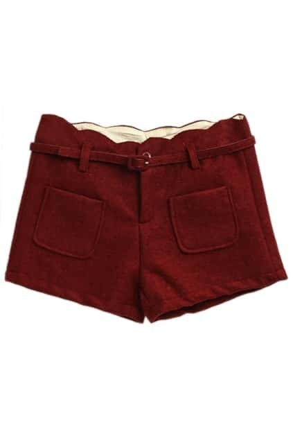 Double Pockets Red Woolen Shorts