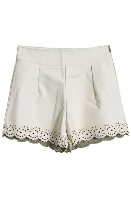 Flower Petals White Shorts