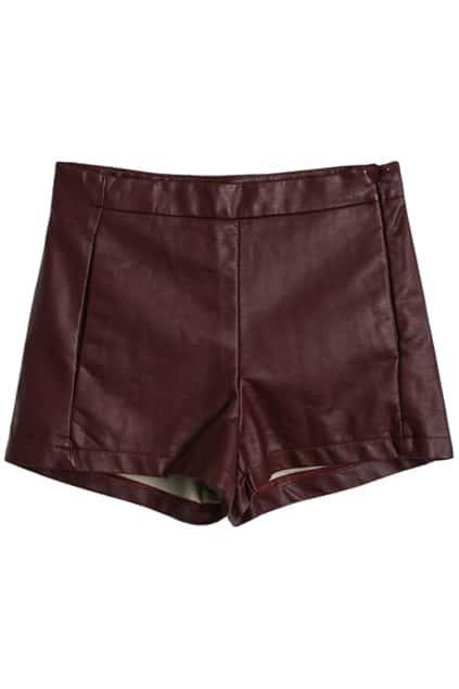 Wine-red Vinyl Shorts