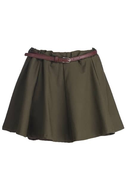 Army Green Main Wide Pleat Skirt