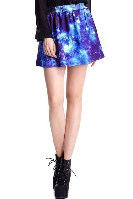 Dark Universe Print Elastic Skirt