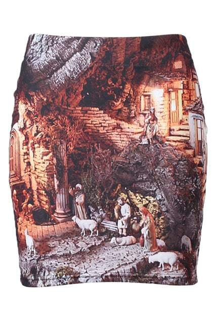 Religious Painting Print Brown Elastic Skirt