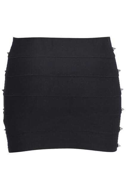 Brief Rivets Embellished Black Skirt