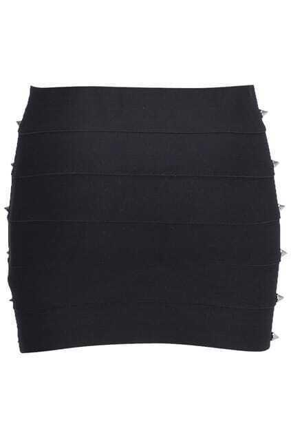 Brief Rivets Embellished Black Skirt