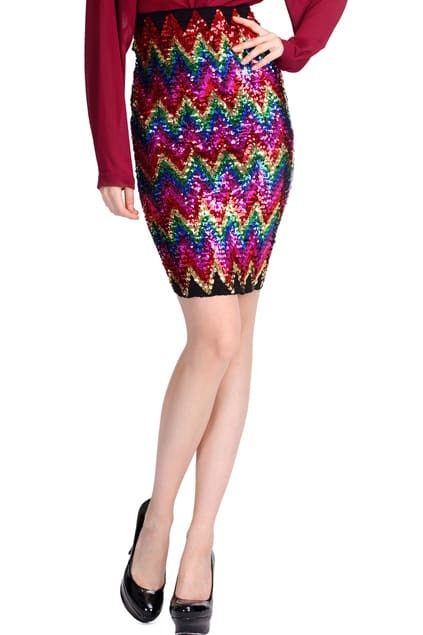 Multi-color Sequined Skirt